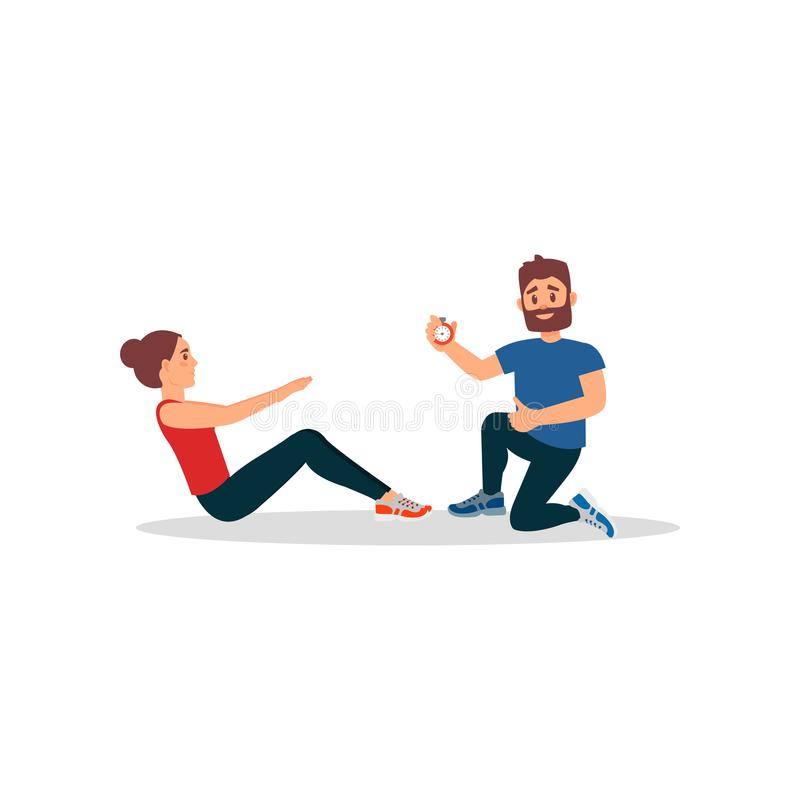Active young girl training in gym with personal trainer. Woman doing sit ups exercise. Physical activity. Flat vector. Active young girl training in gym with vector illustration
