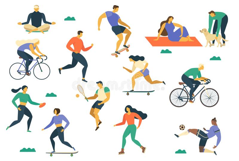 Active young people Healthy lifestyle. Roller skates, running, bicycle, run, walk, yoga. Design element colorful. Vector illustrat royalty free illustration