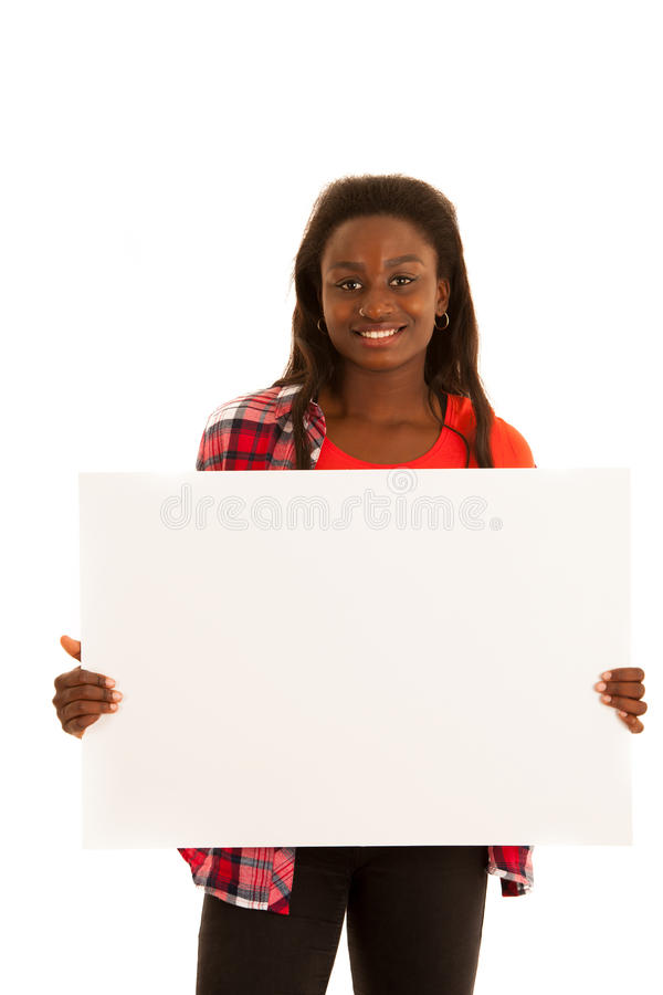 Active young woman holding blank white banner for additional graphics or text isolated over white background stock images