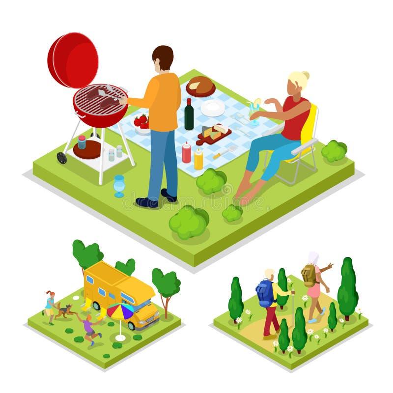 Actividad al aire libre isométrica Parrilla y el acampar de la barbacoa de la familia Forma de vida y reconstrucción sanas ilustración del vector