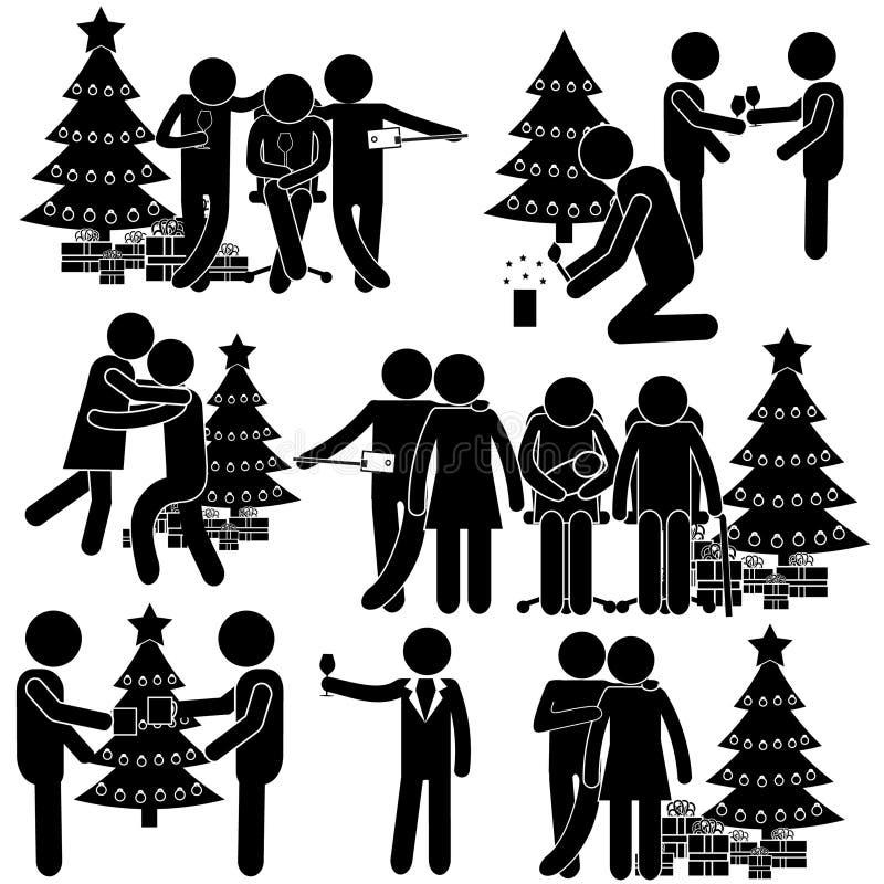Actividad alrededor del árbol de navidad Tomando la imagen, baile y consiguiendo presentes stock de ilustración