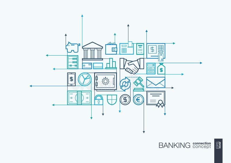 Actividad bancaria de la línea fina integrada símbolos libre illustration