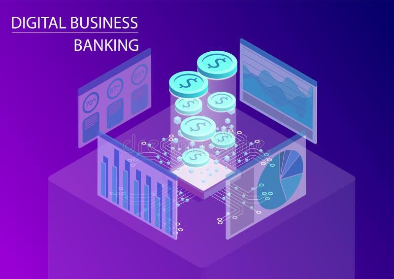 Actividad bancaria del negocio de Digitaces y concepto de los servicios financieros ejemplo isométrico del vector 3d con las mone ilustración del vector