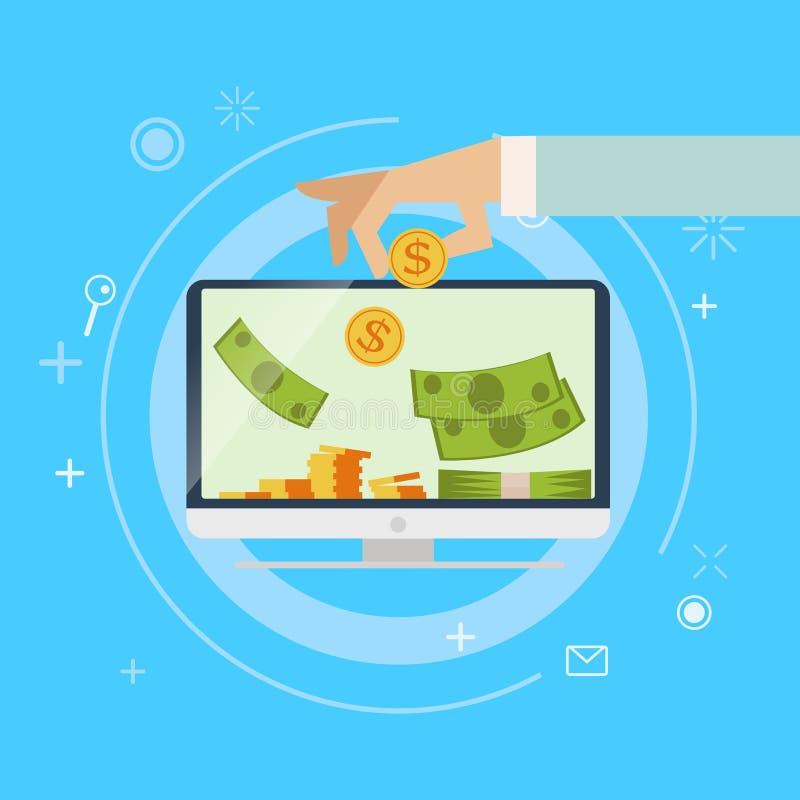 Actividad bancaria en línea de las ganancias ilustración del vector