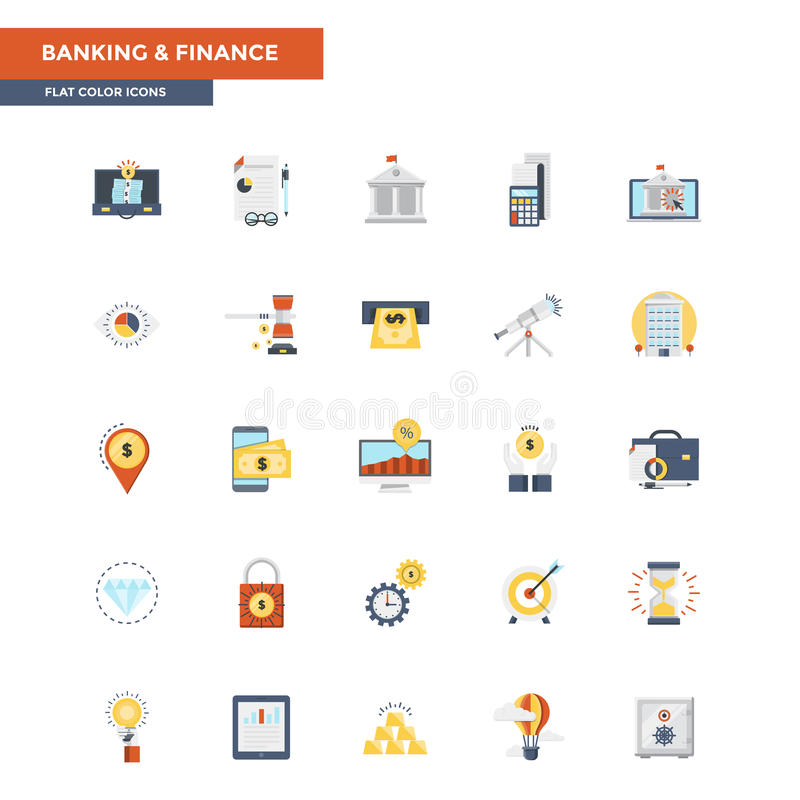 Actividad bancaria y finanzas planas de los iconos del color ilustración del vector