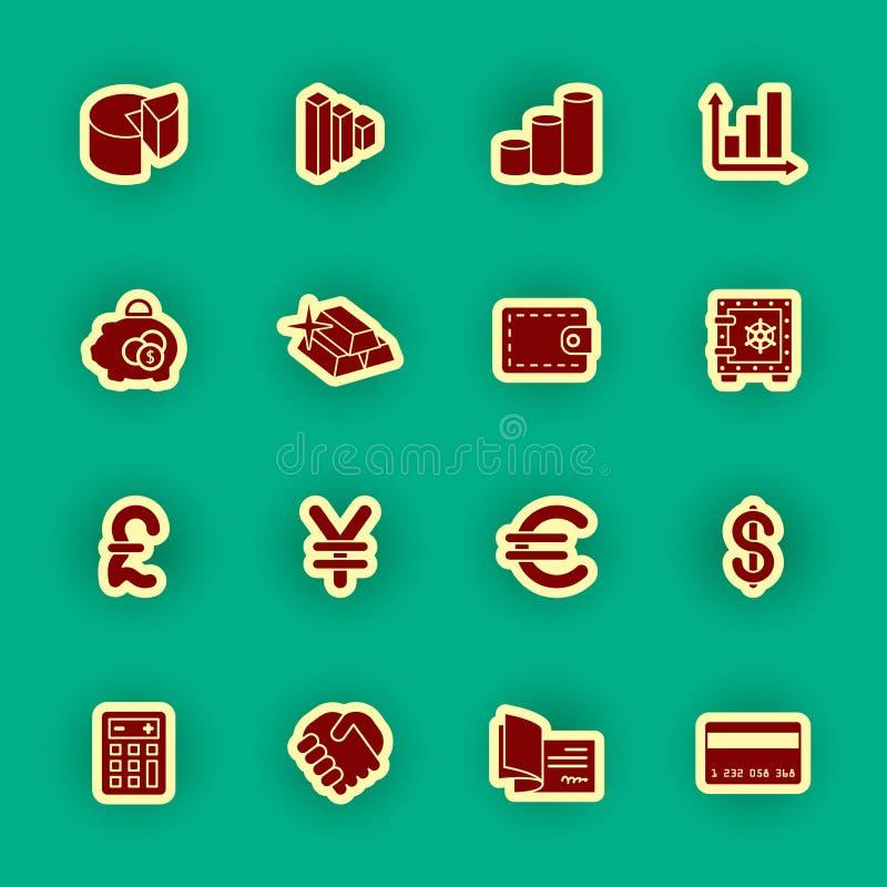 Actividad bancaria y sistema financiero del icono stock de ilustración