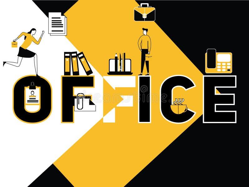 Actividad creativa de la oficina y de la gente del concepto de la palabra libre illustration