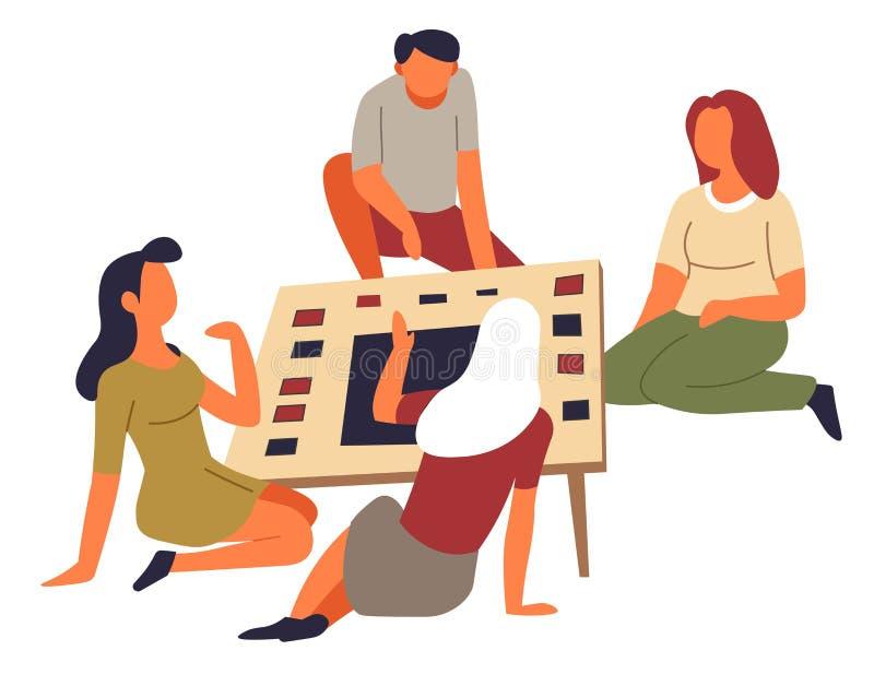 Actividad de grupo del entretenimiento de la familia del pasatiempo del ocio del juego de tabla stock de ilustración