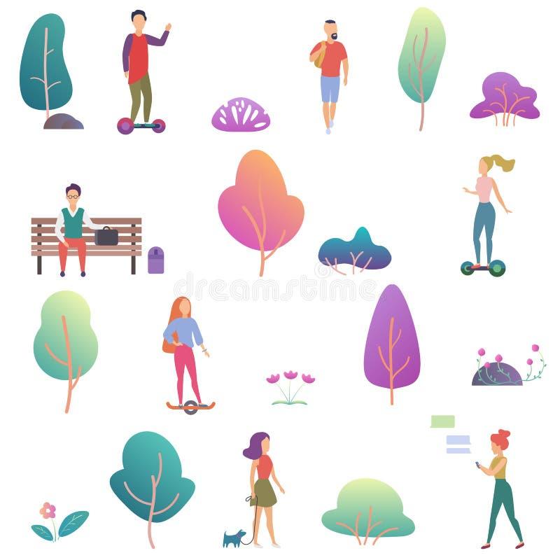 Actividad de la gente del verano en los iconos del parque fijados Ejemplo plano del vector del diseño de la pendiente moderna stock de ilustración