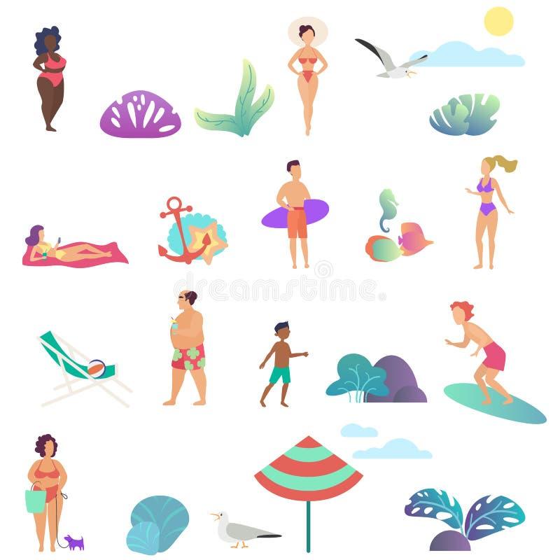 Actividad de la gente del verano en los iconos de la playa del océano fijados Ejemplo plano del vector del diseño de la pendiente libre illustration