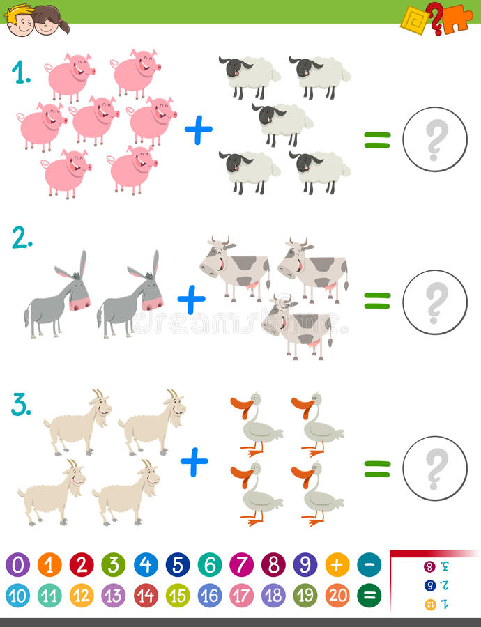 Actividad de la matemáticas de la adición para los niños ilustración del vector