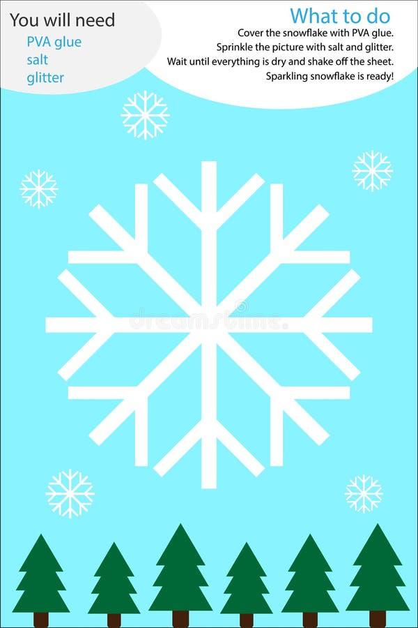 Actividad del arte del invierno de la Navidad, historieta del copo de nieve, juego de la educación para el desarrollo de niños pr ilustración del vector