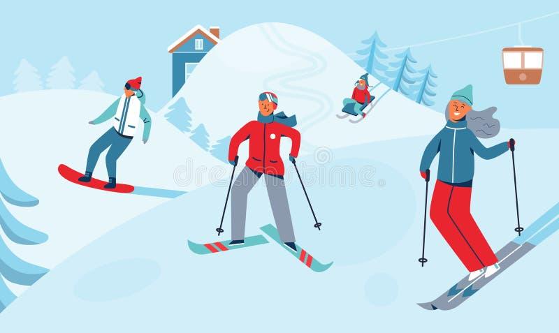 Actividad del deporte de la reconstrucción de las vacaciones de invierno Ski Resort Landscape con el esquí y la snowboard de los  ilustración del vector
