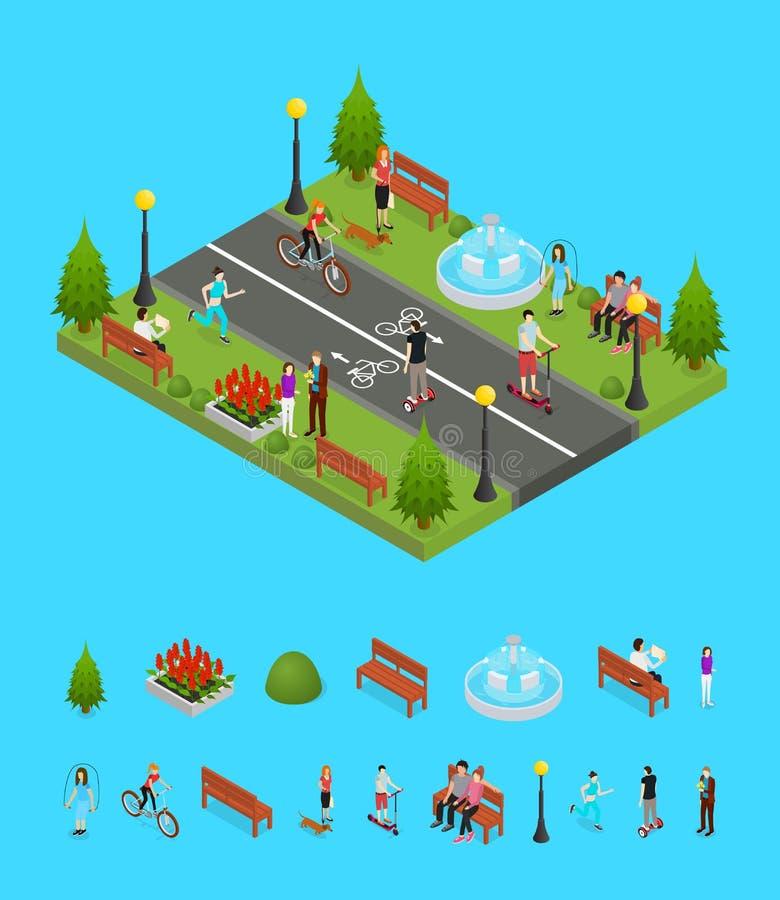 Actividad del parque en la opinión isométrica de la pieza de la ciudad y de los elementos Vector libre illustration