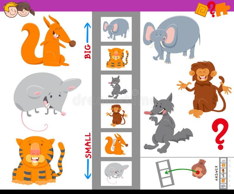 Actividad educativa con los animales grandes y pequeños ilustración del vector