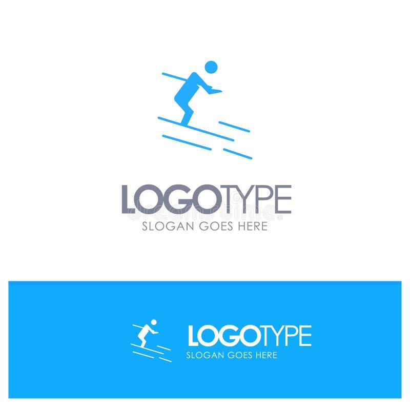 Actividad, esquí, esquí, logotipo sólido azul del deportista con el lugar para el tagline ilustración del vector