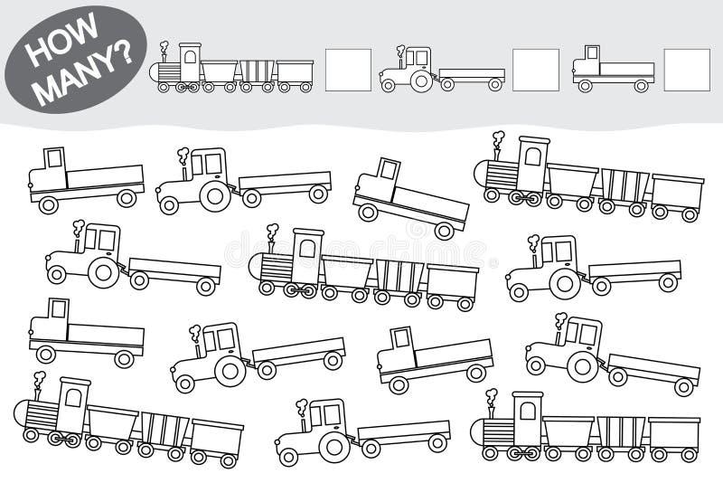 Actividad para los niños Juego educativo Cuente cuántos los colorea el transporte y ilustración del vector