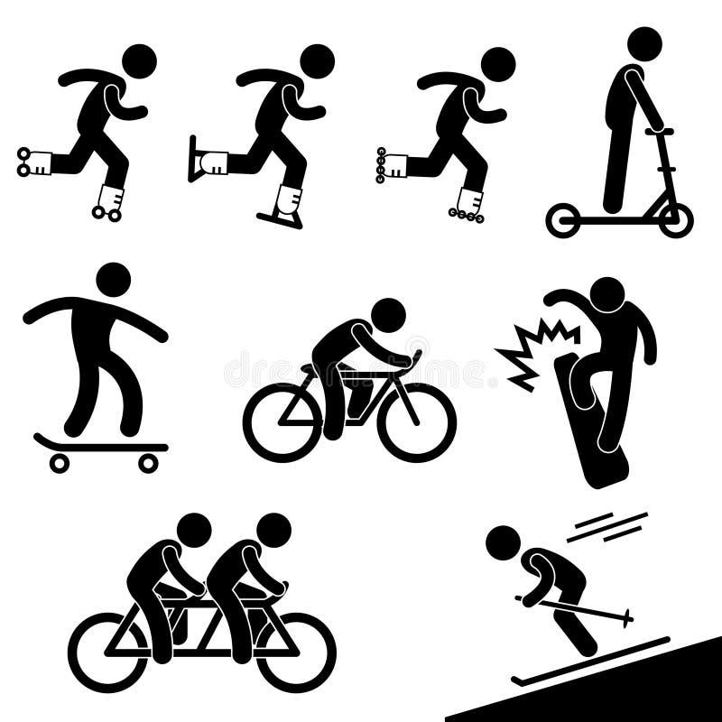 Actividad patinadora y que monta stock de ilustración