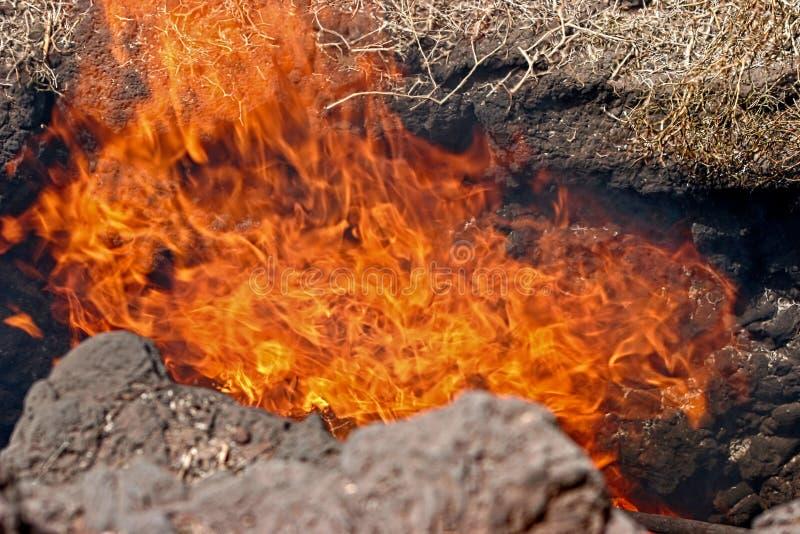Actividad volcánica en el parque nacional de Timanfaya foto de archivo