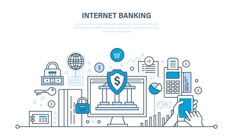 Actividades bancarias de Internet, seguridad del pago, finanzas, depósitos en efectivo, compras, transferencias monetarias stock de ilustración