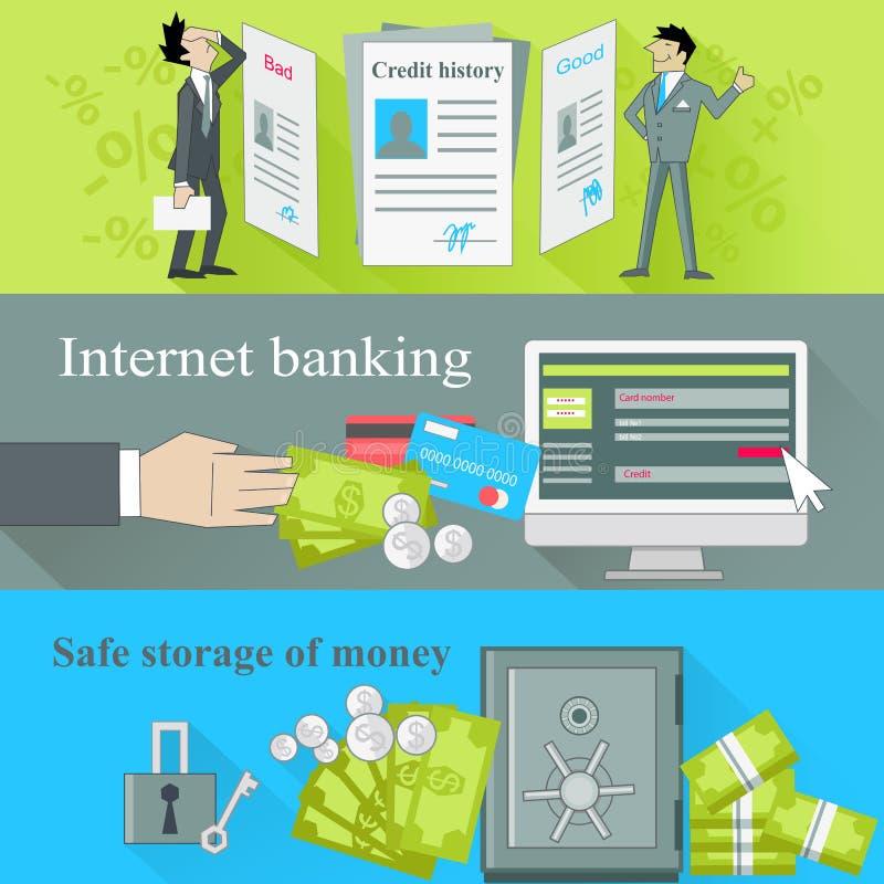 Actividades bancarias de Internet y dinero seguro del almacenamiento libre illustration