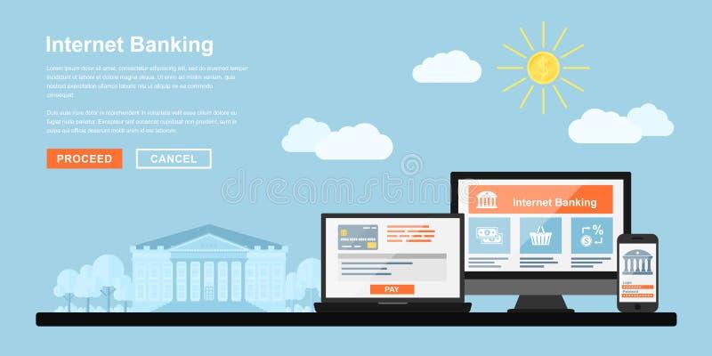 Actividades bancarias del Internet libre illustration