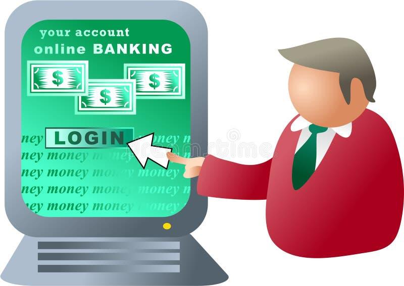 Actividades bancarias del ordenador ilustración del vector