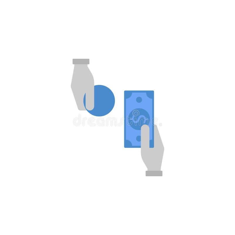 Actividades bancarias, efectivo, mano, vuelta, dólar, cambio, finanzas, azul del dinero y gris icono bicolor libre illustration