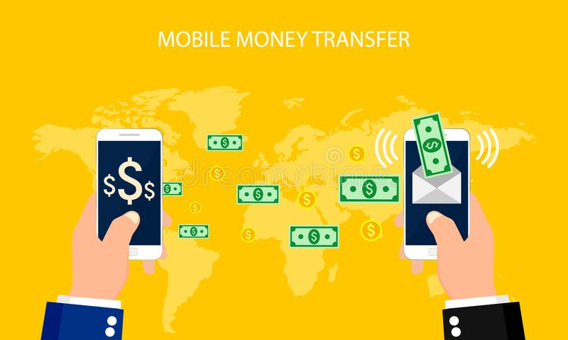 Actividades bancarias en línea del concepto, transferencia monetaria móvil, operaciones financieras Ilustración del vector ilustración del vector