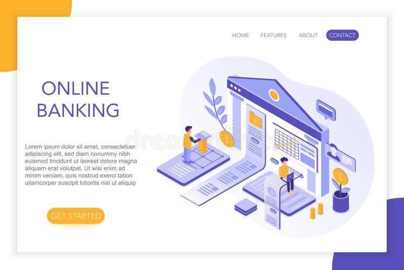 Actividades bancarias en línea, pagos seguros, plantilla de aterrizaje isométrica de la página de la página web de la cuenta banc libre illustration