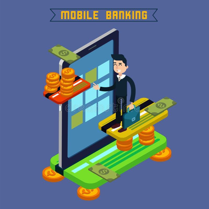 Actividades bancarias móviles Concepto isométrico Pago en línea Pago móvil stock de ilustración