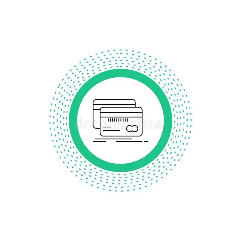 Actividades bancarias, tarjeta, crédito, debe, línea icono de las finanzas Ejemplo aislado vector stock de ilustración