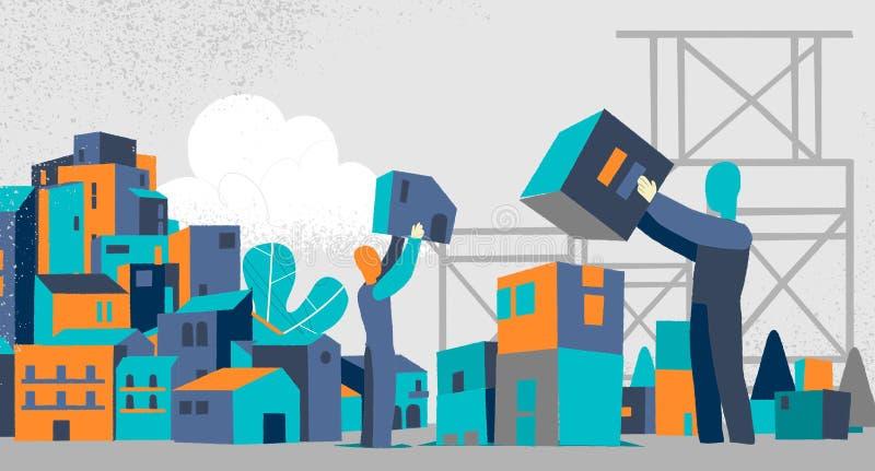 Actividades de acoplamiento de la gente del desarrollo de la ciudad que construyen crecimiento del desarrollo del planeamiento de ilustración del vector