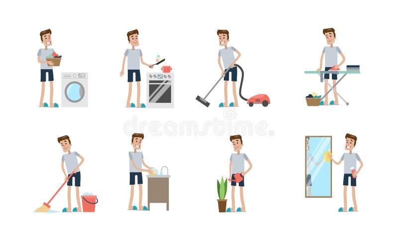 Actividades de la limpieza fijadas stock de ilustración