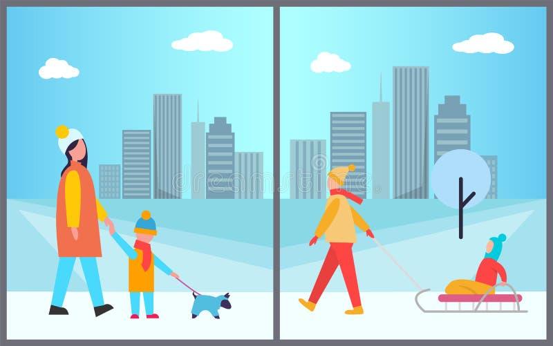 Actividades de las familias en el ejemplo del vector de la ciudad stock de ilustración