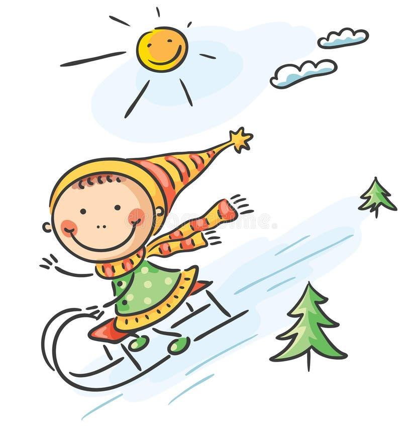 Actividades del invierno de la muchacha: el sledging ilustración del vector