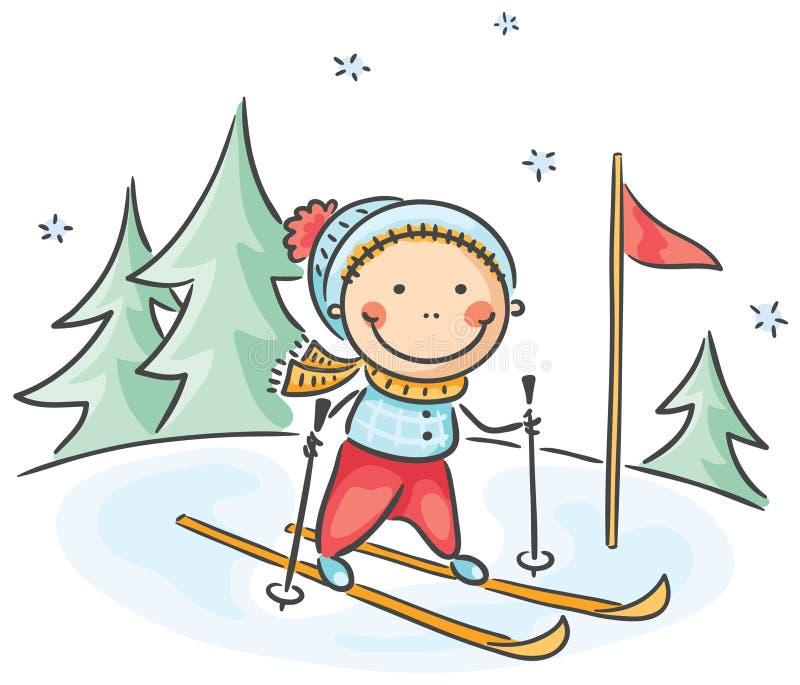 Actividades del invierno del muchacho: esquí libre illustration