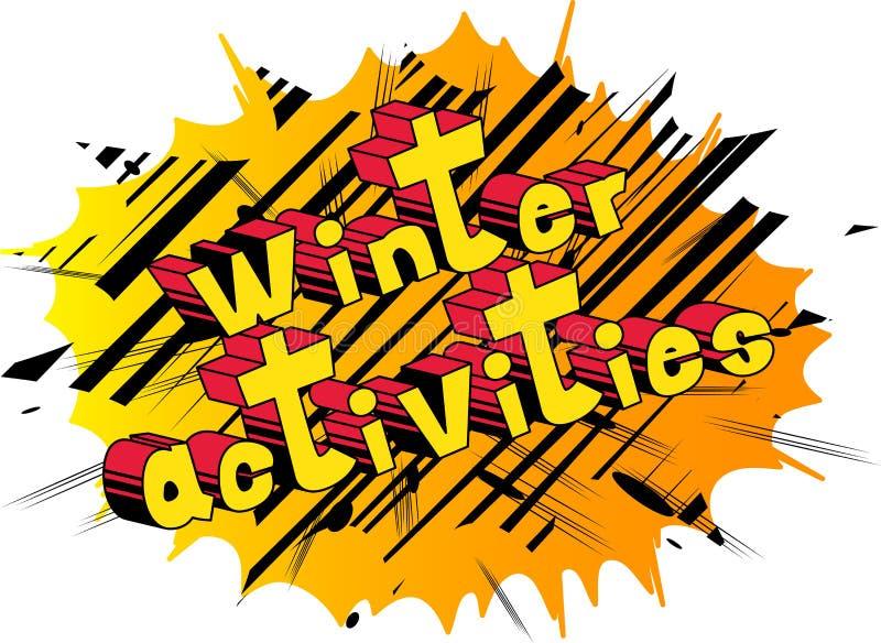 Actividades del invierno - palabras del estilo del cómic ilustración del vector