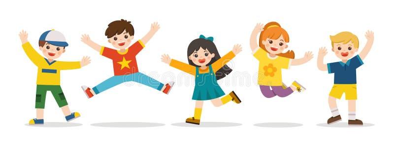 Actividades del ` s de los niños Niños felices que saltan junto en el fondo Los muchachos y las muchachas están jugando juntos fe stock de ilustración