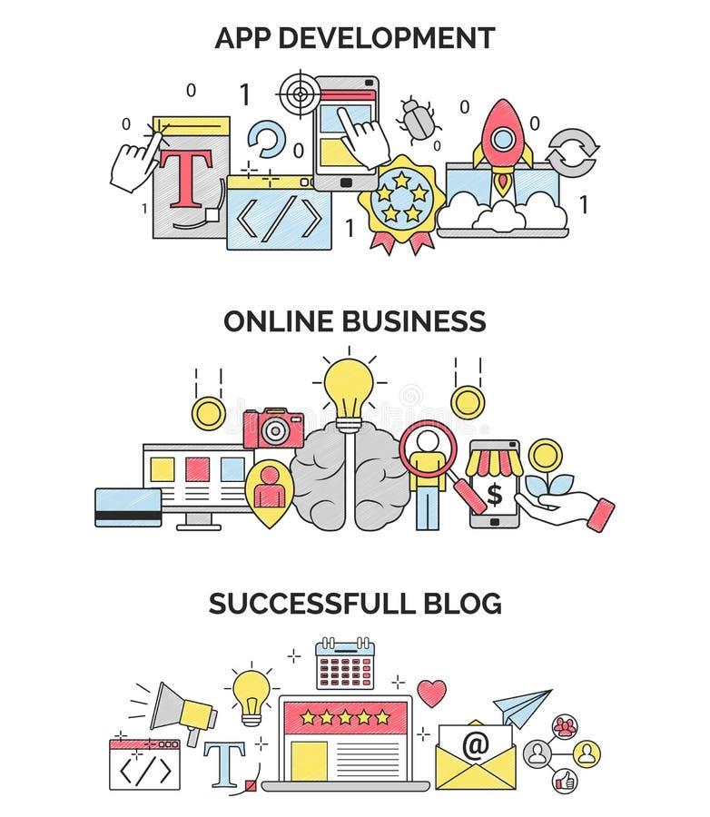 Actividades económicas y ejemplos en línea del desarrollo del app stock de ilustración