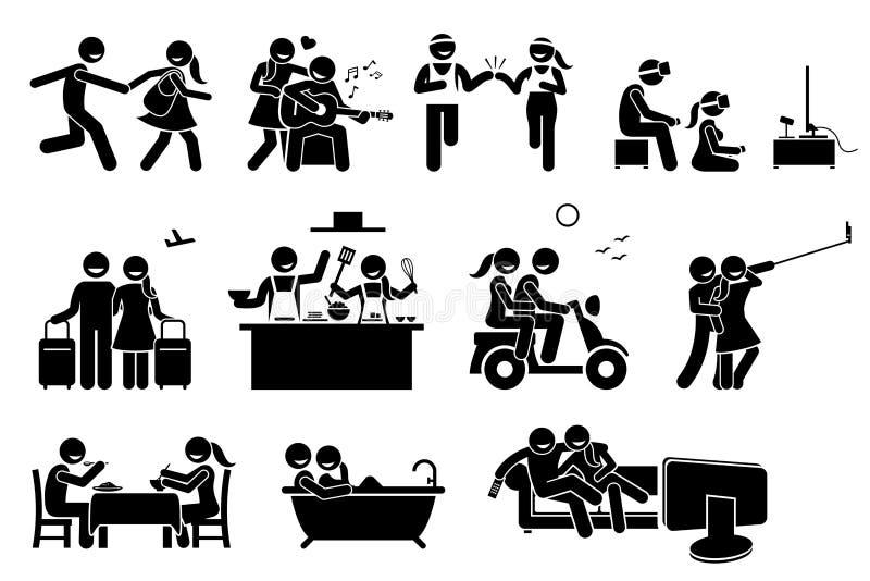 Actividades felices de los pares del amante stock de ilustración