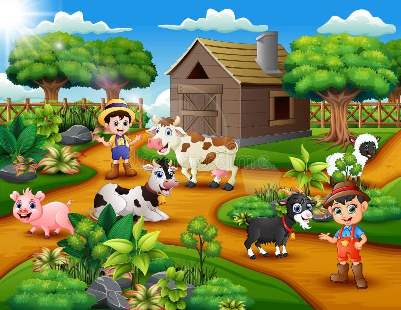 Actividades jovenes felices de los granjeros con los animales en granja stock de ilustración