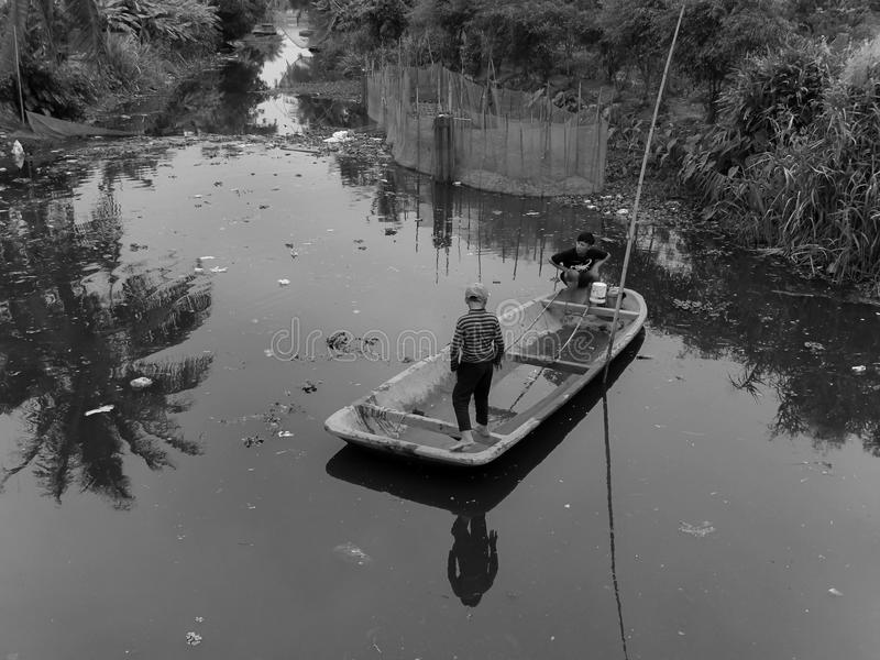 Actividades pesqueras eléctricas fotos de archivo