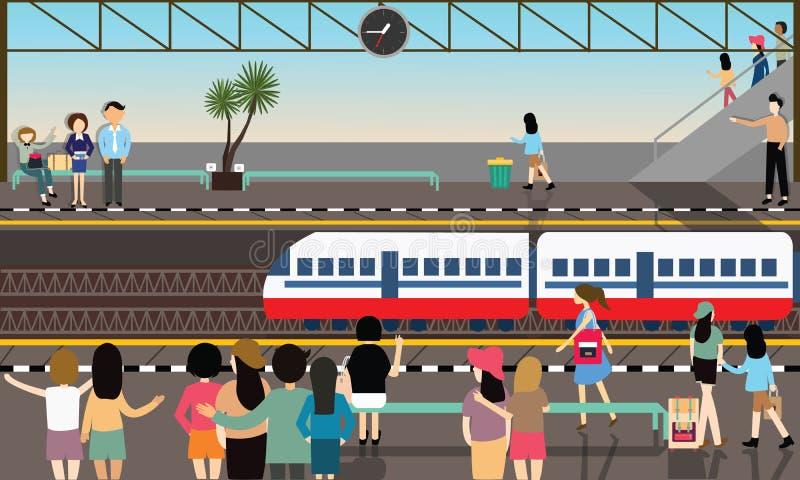 Actividades planas de la historieta del transporte de la ciudad del vector ocupado del ejemplo de la estación de tren libre illustration