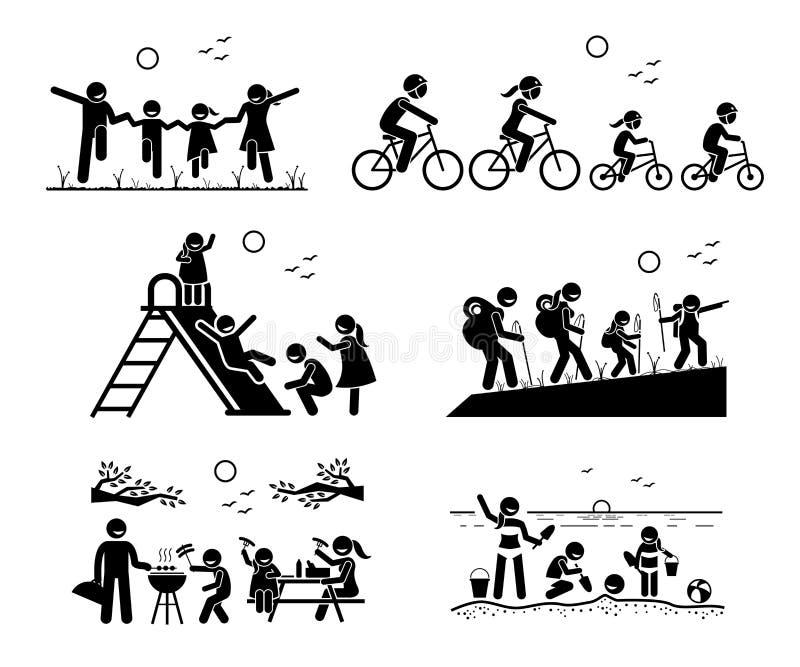 Actividades recreativas al aire libre de la familia stock de ilustración