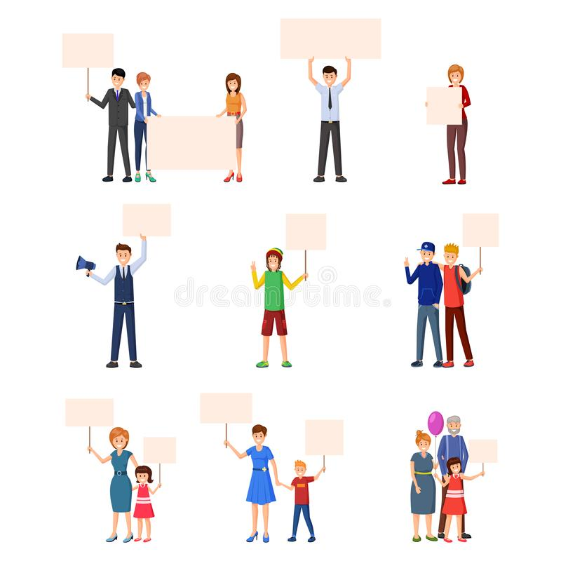 Activism, rights protection flat illustrations set. Young people, adults, kids, teenagers participating in social movement, protest events and actions stock illustration