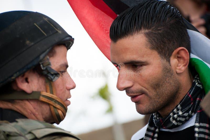 Activismo não-violento palestino imagem de stock