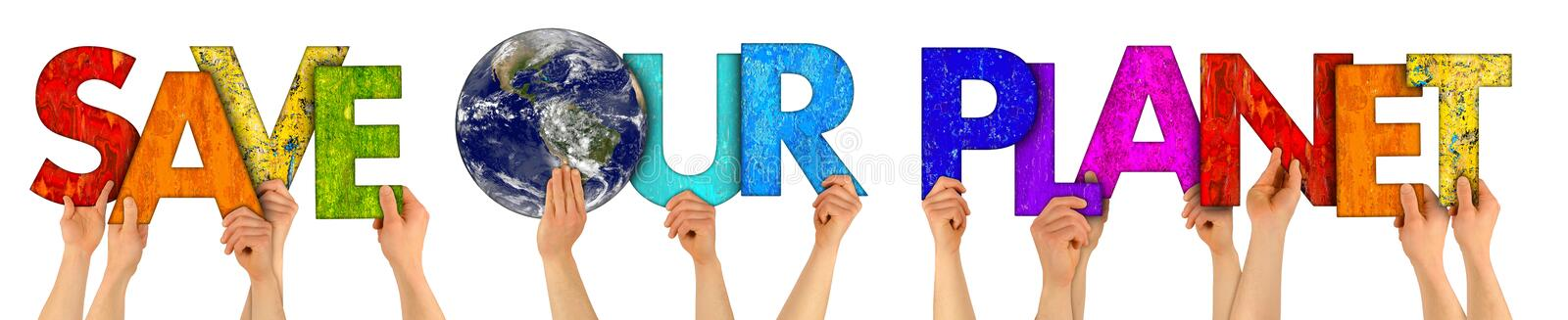 Activist people holding up colorful letter with words save our planet isolated white background. climate change fridays for future royalty free stock photos