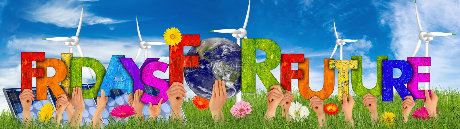 Activist people holding up colorful wooden letter forming words fridays for future and earth globe blue sky green grass. climate royalty free stock photo