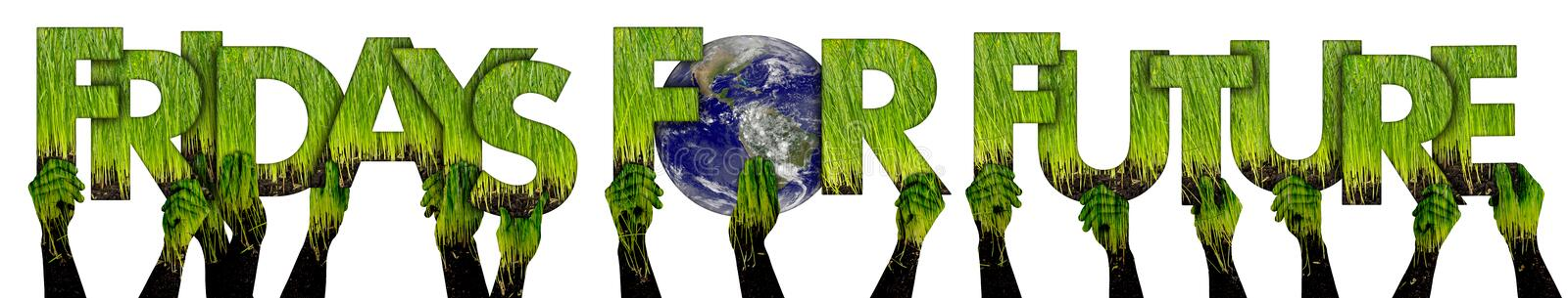 Activist people holding up green grass letter lettering forming  words fridays for future and earth globe isolated white royalty free stock photo